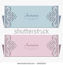 Wedding Announcement Templates Rectangle Cutout Paper Frame Ornamental Lace Stock Vector