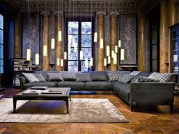 Asian Style Living Room by Massive Dark Gray Velvet Sectional Sofa In Asian Style Living Room