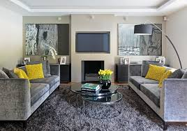 Ideas For Living Room Colour Schemes - gray and yellow living rooms photos ideas and inspirations
