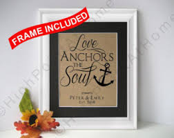 Love Anchors The Soul Print - first home personalized family name sign framed burlap