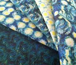Coordinating Upholstery Fabric Collections Van Gogh Starry Night Swirls Smaller Coordinating Pattern Fabric