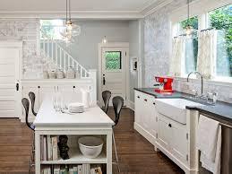 sleek farmhouse kitchen island with farmhouse kitchen lighting