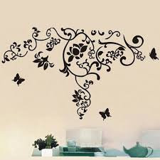 butterfly under the flower vine wall sticker