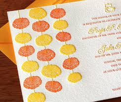South Indian Wedding Invitation Cards Designs Marigold Letterpress Wedding Invitation Design Invitation Style