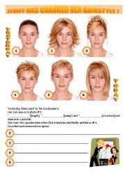 hair style esl english worksheets jenny has changed her hairstyle