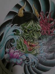 hannya mask chest design left side detail by crimeskull on