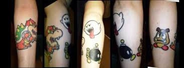 boo bob omb and goomba tattoo
