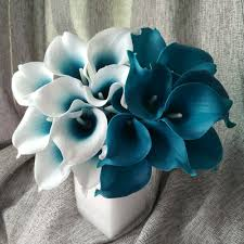 blue lilies picasso calla 10 stems mini calla bouquet teal blue