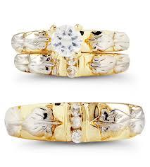 Trio Wedding Ring Sets by 14k Yellow White Gold Leaves Round Cz Wedding Ring Set Trio Sets