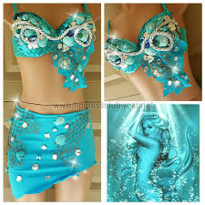 blue sea mermaid costume rave costume for edc