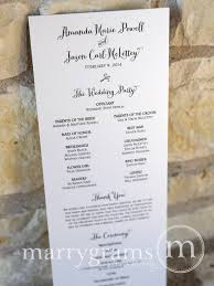 simple wedding program wedding order of service single sided flat program thick style