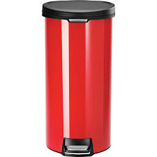 shop simplehuman 30 liter red stainless steel indoor garbage can