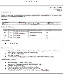 Best Resume For Freshers by Resume Format For Freshersresume Formatresume Samplessample Resume