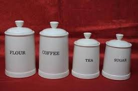 thl kitchen canisters thl ceramic canister set flour coffee tea sugar white 4pc