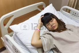 sick bed beautiful asian patient woman headache on sick bed at luxury