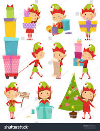 santa claus kids cartoon elf helpers stock vector 503308672
