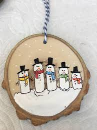 personalized snowman family six christmas ornament wood slice