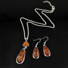 amber earrings necklace images 2018 new vintage silver amber jewelry set for women silver plated jpg