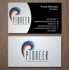 Custom Home Design Questionnaire Upmarket Modern Business Card Design For Pioneer Inter