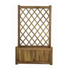 Wooden Planter With Trellis Resin Wicker Planter With Trellis Free Shipping Today