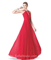 a line cut out front red chiffon pleated long evening prom dress