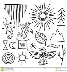 hand drawn doodle vector native american symbols set stock vector