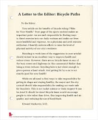 a letter to the editor bicycle paths