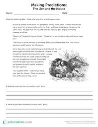 making predictions the lion and the mouse worksheet education com