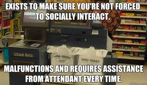 Self Checkout Meme - please place item in the bagging area unexpected item in bagging