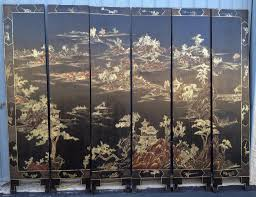 6 panel room divider 6 panel chinoiserie black u0026 gold screen vintage from