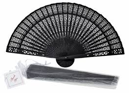 folding fans 8 black folding wood panel fan w white organza bag