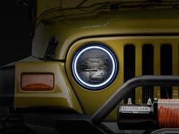 Jeep Wrangler Waterproof Interior Oracle Wrangler Led Waterproof Headlight Halo Kit White 3947 001