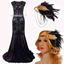 Great Gatsby Women S Clothing Prom Gown 1920s Flapper Dress Great Gatsby Evening Party Long