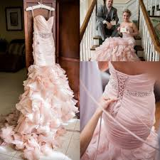 real image blush pink sweetheart tiered layered organza mermaid