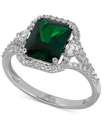 emerald silver rings images Lab created emerald 2 1 10 ct t w and white sapphire 3 8 ct tif