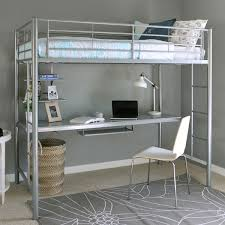 Study Bunk Bed Metal Loft Bed With Desk Underneath Size Silver