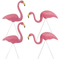 2 pairs of authentic pink plastic lawn flamingo garden ornaments