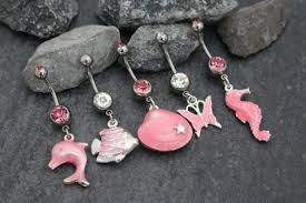 pink navel rings belly ring seashell belly button rings