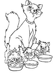 coloriage maman chat et ses chatons