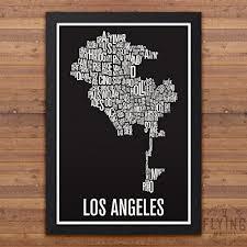 los angeles suburbs map amazon com los angeles neighborhood map print handmade