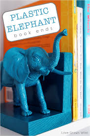 plastic elephant book ends love grows wild