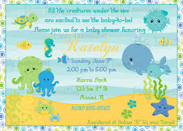 How To Make Baby Shower Invitation Cards Under The Sea Baby Shower Invites Kawaiitheo Com