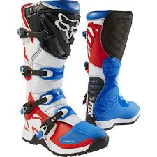 leather motocross boots new fox racing 2017 mx comp 5 le fiend blue red white dirt bike