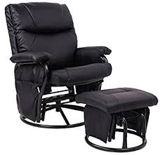 amazon com merax black pu leather nursing glider rocker recliner