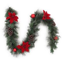 6ft unlit poinsettia and ornaments artificial pine