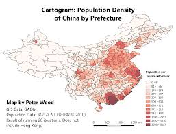 Guangzhou China Map by Cartograms Of Chinese Population Density Peter Wood
