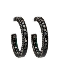 black diamond hoop earrings yossi harari lilah pave black diamond small hoop earrings