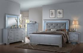 Bedroom Sets With Mirror Headboard Lillian 5 Piece Bedroom Led Backlighting Accents On Headboard And