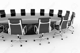 Conference Table With Chairs Round Conference Table With Black Leather Chairs Stock Photo