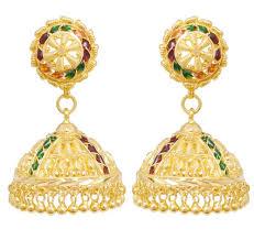 earrings in grt 22kt gold bead stones earrings artificial and metal